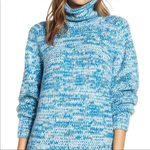 Blue and White Turtle Neck oversized sweater